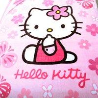 achat en gros de queen size couverture en peluche-Bonjour Kitty Blanket pour adultes / enfants Plush Fleece Blanket Bed Kawaii Throw Blanket sur le lit / canapé / voiture, Queen Size 200 * 150cm