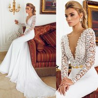 Wholesale 2016 Long Sleeve Wedding Dresses by Berta Bridal Deep V Neck Lace Bodice Gold Beaded Waist Fitted Wedding Gowns Sheath Bridal Dresses