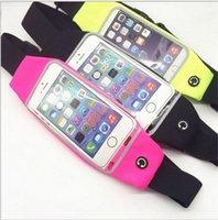 Wholesale Women Men Waist bags Sports Fitness Running Belt Touch Screen phone Bag Universal Cases Pocket for iPhone Se S Plus Samsung S6 S7 S7 Edge