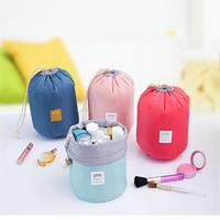 Wholesale New Arrival Barrel Shaped Travel Cosmetic Bag Nylon High Capacity Drawstring Elegant Drum Wash Bags Makeup Organizer Storage Bag