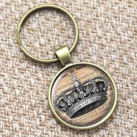 alloy art wire - 12pcs Victorian keyring the crown with cross on a Wire keyring print photo Glass art keyring