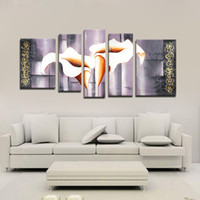 Cheap 5PCS Unframed Huge Modern Hand-painted Oil Paintings on Canvas Lily Flower Pattern Wall Decoration Art Prints for Living Room Home H16958