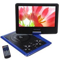 DBpower 9.5 portátil de DVD con soporte para tarjeta SD y pantalla giratoria USB Reproducción directa en formatos MP4 / AVI / RMVB / MP3 / JPEG Azul Rojo