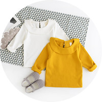 Wholesale Girls Autumn new cotton lace flounced collar Long Sleeve simple and comfortable style T shirt for girl s gift