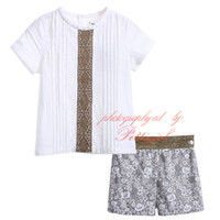 b boy clothing - Cutestyles Infant and Toddler Boys Clothing Set Brown Lace Boutique White Short Sleeved Tees And Print Shorts Baby Suit B DMCS905
