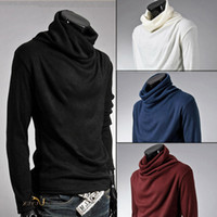 beige turtleneck sweater - Mens knitted clothing Sweaters Pullovers Men Solid Sweater Male Outerwear Jumper Blusa Masculina Turtleneck Sweaters MQ208