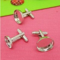 Wholesale Rhodium plated cufflink base cufflink blank cufflink setting Jewelry with inner mm Bezel Setting Tray for Cameo Cabochons