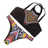 antique prints sale - 2016 new style summer hot sale women style flower printing bikinis antique black printing sexy swimware dacron with bra swimsuit