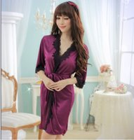 bar and noble - Foreign trade in Europe and America sexy low cut sexy purple bathrobe bathrobe nightgown noble lace black bars