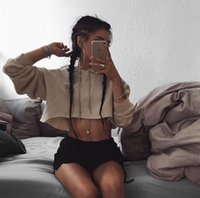 Wholesale New fall fashion women s thin hip hop belly exposed Otis T shirt sexy lady hoodie cute Austrian short term crop top Skateborad