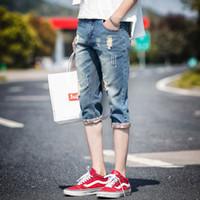 Cheap Men's Fashion Casual Jeans Shorts Vintage Ripped Broken Hole Jeans Denim Capri Holey Pants Shorts Size 28-36
