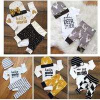 Wholesale Hug Me Toddler Girls Clothing Sets Autumn Fashion Print Romper Stripe Pants Bow Sequins Cap pieces sets ER