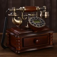 antique wood phones - Solid wood antique telephone fashion phone fashion vintage telephone household Handsfree blue Backlit Caller ID