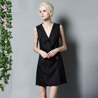 Wholesale New Arrival Autumn Women s V Neck Sleeveless Buckle Detailing Fashion Vests