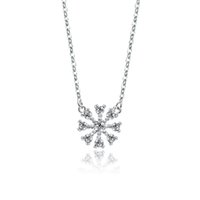 Wholesale sterling silver snowflake necklace inch with zircon stone best christmas gift jewelry PS03831