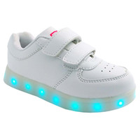 Wholesale 2016 New LED Kids Sneakers Running Shoes USB Sockets Recharge Double Hook loop Lighted Different Flash Leather