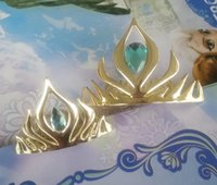 Wholesale 2016 New Arrival Fashion Frozen Elsa Coronation Plastic Crown Crystal Gold Crown Tiaras Jewelry Hairwear For Girls free shpping