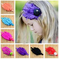 achat en gros de pad d'oie-Hot Sale boucles d'oreilles Goose Feather Pads accessoires pour les bébés filles, la mode Party plumes bandeau avec mini fleur satin et perles cristal