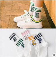 Wholesale Socks manufacturers tea color new alphabet three bars in tube socks cotton sports socks female