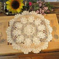 lace doilies - Crochet Lace Doily Cotton placemat White Beige cm Round table mats piece