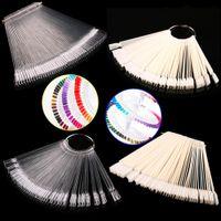 Wholesale 50 Pieces False Display Nail Art Fan Wheel Polish Practice Tip Sticks Design Decor Set New H2