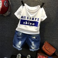 Wholesale 2 Boys Little Kids Children Summer Spring Cool Jeans Set Outfit Short Sleeve Shirt Letter Printing Top Jeans Fashion Cool Sets A