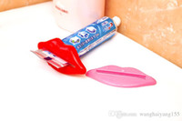 Wholesale EMS Sexy Hot Lip Kiss Bathroom Tube Dispenser Toothpaste Cream Squeezer Home Tube Rolling Holder Squeezer HY951