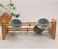Wholesale Bamboo Tea Cup Storage Holders Kitchen Dish Rack Style Tea Cup Racks Accessories Storage Holders Handmade Folding Kitchenware