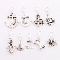 antique boat anchor - 90pcs styles mixed Antique silver Anchor Horse Frog Spider Sailing Boat Clasp European Lobster Trigger Clip On Charm Beads CM6