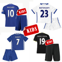 away kits - 16 kids Chelsea home blue soccer Jersey Kits PEDRO FABREGAS HAZARD DIEGO COSTA WILLIAN KANTE Away black white child youth Football Shirt
