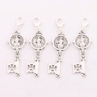 clip on charms - MIC Antique silver Saint Benedict Medal Cross Smqlivb Key Clasp European Lobster Trigger Clip On Charm Beads c1686 X16 mm