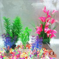 Wholesale Big Discount g aquarium stone Plastic Aquarium Artificial Plants Fish Tank Grass Flower Ornament Decor Landscape