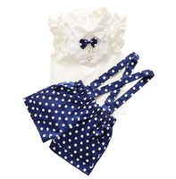 Wholesale Cute Clothes For Girls 3t - 2016 New Summer style Kids Clothing Set T Shirt And dot shorts Pants 2 Colors Children Girl Clothes Sets For Free Shipping