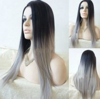 Wholesale 2016 Hot sale long Ombre Color wigs synthetic material with curly and straight type for option