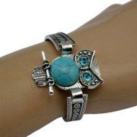 achat en gros de vintage bleu turquoise bracelet-2016 Femmes Bohemian Retro Tibet Vintage Silver Bracelet Owl Fatima Elephant Lune Turquoise Charm Bracelets Bangles Boho Bijoux