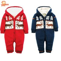 beige coverall - 2016 New Christmas Deer Baby Boy Winter Clothes Thickening Baby Rompers Cartoon Baby Girl Winter Coverall Hooded Baby Clothing