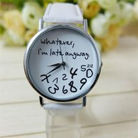 alphabet watch - Fashion Casual Geneva Watches high quality Men women Quartz Leather watch quot wathever i m late anyway quot Alphabet dial Watches