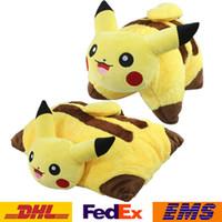 ball pillow - New Cartoon Poke Pikachu Pillow Cushion Ball Figures Plush Dolls Toys Unisex Children Kids Plush Ball Stuffed Doll cm XMAS Gifts WX P02