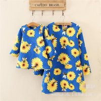 bee mother - Mother and Daughter Floral Print Dresses Babies Princess Cartoon Bees Dress Children s Autumn Winter Family Clothing SDB1079