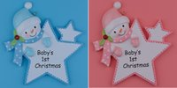 Wholesale Maxora Personalized Baby First Christmas Ornaments Blue Boy Pink Girl Star As Craft Souvenir For Natal Baby Gifts