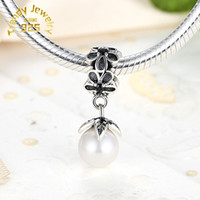 Wholesale Fashion Pearl Pendant Charm Sterling Silver European Charm Bead Compatible With Snake Chain Bracelets Fashion DIY Jewelry