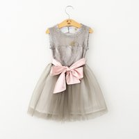 Wholesale Girls Princess Dress Summer Lace Tutu Cake Dress Korean Fashion Party Dress for Kids Clothing with Bow Belt BB