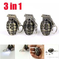 batteries key chains - Multifunction in Grenades Style Key Chains Dual Mini LED Flashlight mw Red Laser Beam Laser Pointer Pen Keychain with A batteries