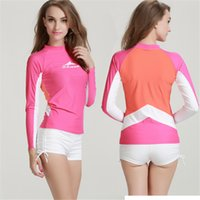 Wholesale Solid Colorful Shirt - Women Diving Swimming Wetsuit Windsurf Water Sports Kite Surfing Snorkeling Swimsuit UPF50 Tight Shirts Tops Colorful Swimming Wetsuits