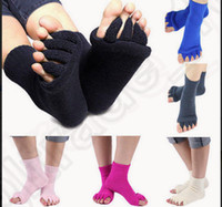 athletic pain - 10 color KKA152 Yoga Massage Open Five Toe Separator Socks Foot Alignment Pain Relief Colorful Women Fitness Brand Sport Socks pair