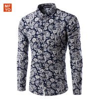 Wholesale New Mens Casual Shirts Fashion Long Sleeve Brand Printed Male Formal Business Polka Dot Floral Men Dress Shirt Chemise Homme