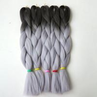 Trenzas grises oscuros España-Ombre del trenzado del pelo de Kanekalon trenzas ganchillo sintética 24inch 100g giro oscuro Greylight extensiones de cabello gris trenza Jumbo