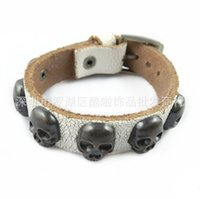 Wholesale Personality cowhide skull bracelet Leather bracelet Leather bracelet