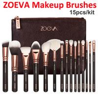 Wholesale Brand New ZOEVA Rose Golden Luxurious Makeup Brushes Set Powder Foundation Brush Tool Zoeva Cosmetic Brush Eyeshadow brushes Bag