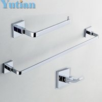 Wholesale Square Brass chrome Bathroom Accessories Set Robe hook Paper Holder Towel Bar set retail YT